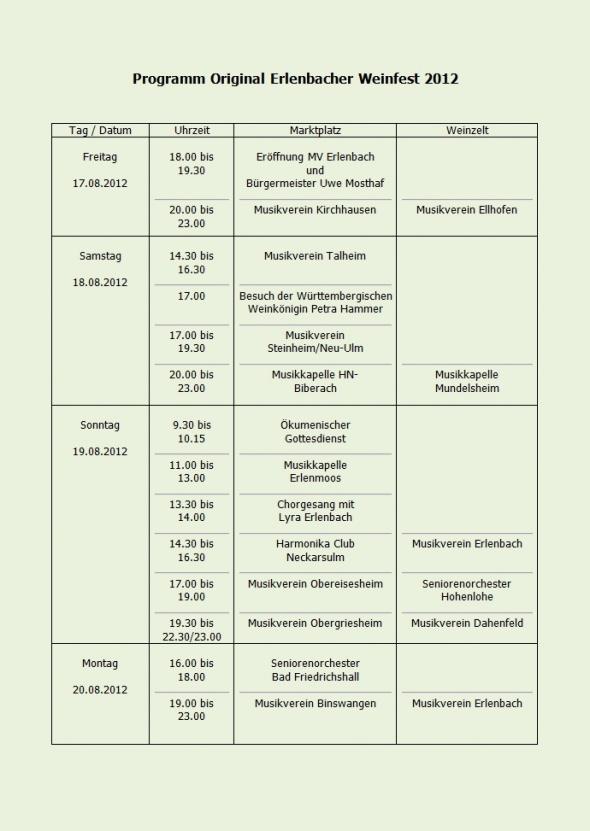 Original Erlenbacher Weinfest 2012 Programm