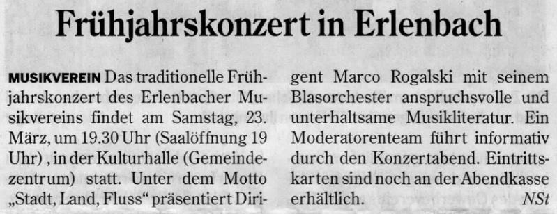 Konzertankündigung Neckarsulmer Stimme  22.03.2013